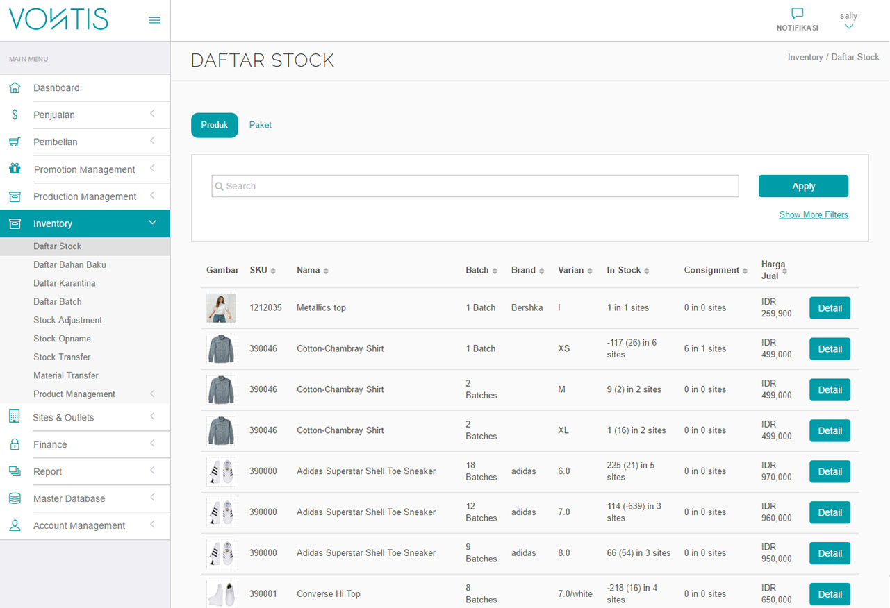 Inventory - Daftar Stock